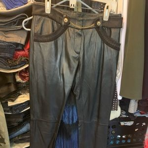 BCBG size 2 black leather pants with liner